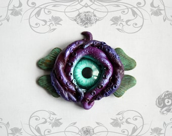 Deep Sea Kraken brooch with ocean plant // Violet purple polymer clay tentacles with turquoise glass eye // Steampunk Fantasy jewellery gift