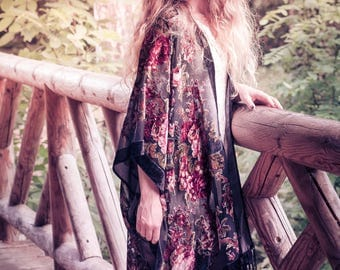 The Goddess of flowers//black fringed silk burnout velvet kimono, floral vintage print.