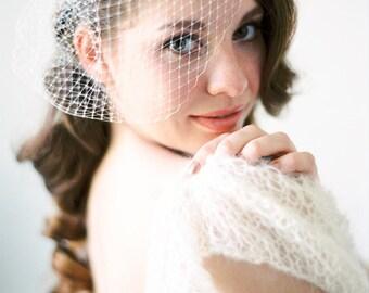 "Bridal Veil, Birdcage Wedding, Headpiece - ""Lola"""
