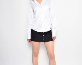 Vintage 90's White Button Satin Shirt /White Satin Blouse / Long Sleeve White Satin Top - Size Large