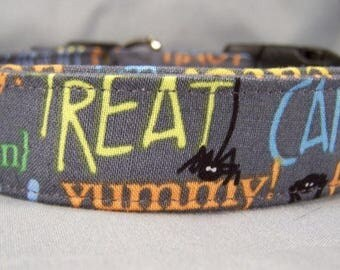 Halloween Dog Collar Halloween Words on Gray