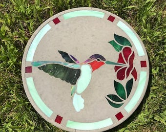 Stained Glass Hummingbird Garden Outdoor Stepping Stone