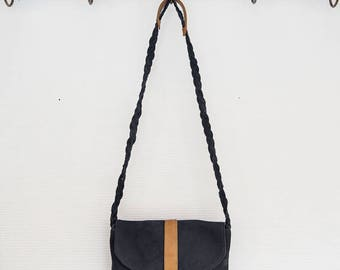 Clutch bag leather and black nubuck
