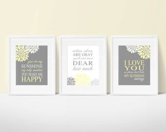 You Are My Sunshine YELLOW Gray Nursery Wall Art Flowers Print or Canvas Lyrics Wall Decor Set of 3 Baby Shower Gift Baby Girl Wall Decor