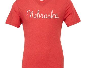 Nebraska Shirt - Corn Husker - Red V-Neck - T-Shirt - Unisex Fit