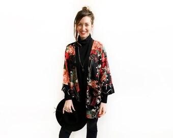 Unique Red Kimono, Long Fall Cardigan, Autumn Kimono, Bohemian Coverup, Oriental Print Kimono, Floral Kimono, Red Cardigan, Plus Size Kimono