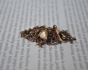 Antique Gold Filled Slider Watch Chain - 1900s Edwardian Guard Chain, Heart Slider