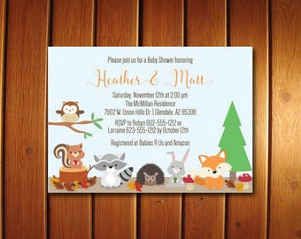Woodland Baby shower Invitation - Forest Animals Baby Shower Invitations