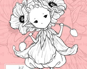 PNG Digital Stamp - Poppy Sprite - Remembrance Day - Whimsical Flower Fairy - Fantasy Line Art for Cards & Crafts by Mitzi Sato-Wiuff