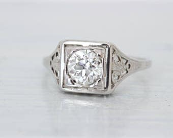 Art Deco Engagement Ring | 0.75 CT Antique Diamond Ring | 1920s Solitaire Ring | Filigree Jewelry | 18k White Gold | Estate Jewelry Size 6.5