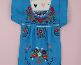 6-12 Months-Colorful Baby Handmade Mexican Dress-Turquoise-Hand Embroidered-Cake Smash-Photoshoot Outfit-Wedding-Sister-Festival-Birthday