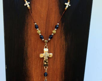 Two Toned Cross Leather Necklace