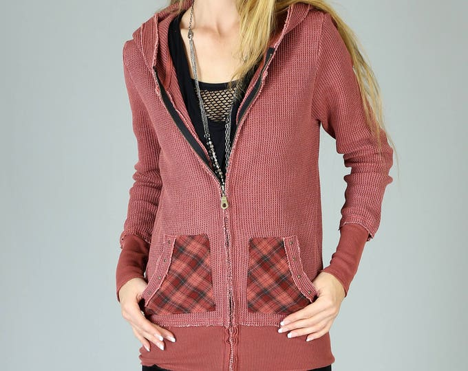 Featured listing image: 90's Seattle Grunge Thermal Tunic Hoodie, Vintage Burgundy Red