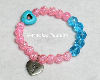 Beaded Bracelet Pink and Blue With Heart Cross Charm Bracelet Christian Jewelry Mothers Day Easter Gift Glass Bead Charm Stretch Bracelet