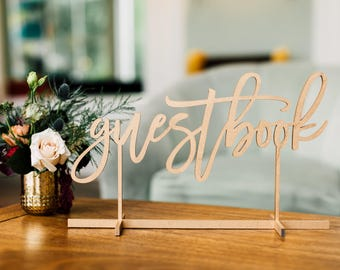 "Guestbook Free Standing Table Sign (1x) Laser Cut Wood Sign 16""x9.5"" Wedding Decor, Engagement Party Decor, Birthday Decor, Gift Table"