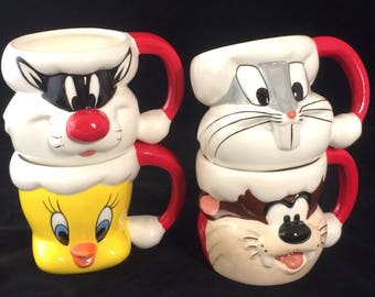 Set Of 4 Vintage WB Warner Brothers Character Christmas Mugs New In Box: Taz, Bugs Bunny, Tweety Bird & Sylvester