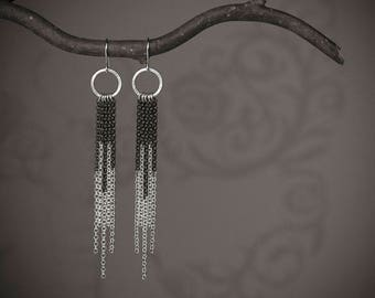Sterling Silver Tassel Earrings - Dangle, Chandelier, Chain Earrings with Black Oxidized and Polished Sterling Silver - 00226 MADE TO ORDER