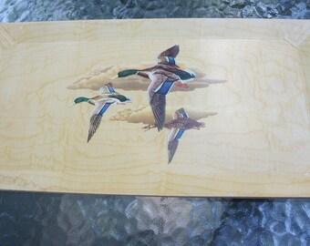 1940's HASKO Haskelite Lap TV Trays w/Mallard Duck Lithograph/ Birch Veneer Wood