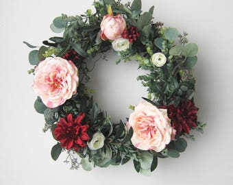 Valentine's Day Front Door Wreath- Rose Wreath - Pink and Red Wreath - Greenery Wreath - Floral Wreath - Faux Wreath - Spring Decor