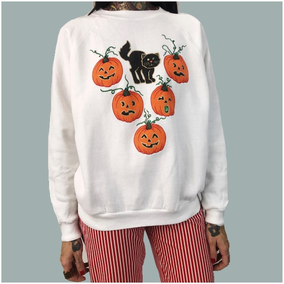 90's Tacky Halloween Pullover Sweatshirt White Small Womens - Spooky Cute Crew Neck Jack-o-lantern Black Cat Pumpkin Puffy Paint Fall Jumper