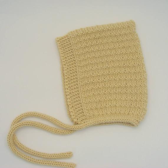 Merino/Silk/Cashmere Pine Pixie Hat in Butter - Sizes Newborn to Age 24 months - Pre-Order