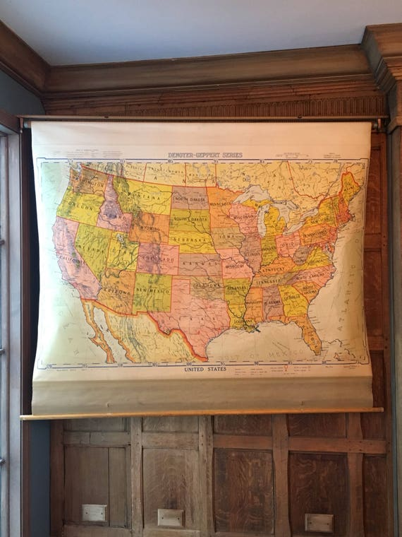 1950s Pull Down Map, Vintage US Map, USA Pull Down Chart, United States Travel Map, Farmhouse Decor