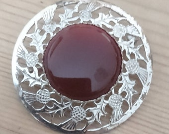 Vintage sterling silver and carnelian brooch