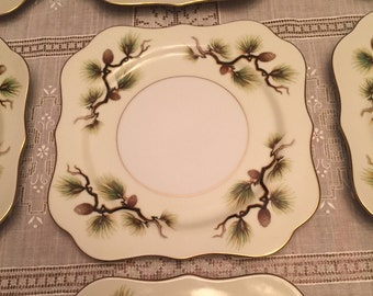 Free Shipping Narumi  Fine China Japan Shasta Pine Pattern 5012 Mid-Century Square 12 Salad Plates Scalloped Edge