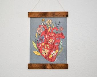 Watercolor Human Heart Art Print - Floral Heart Print - Anatomical Heart with Flowers - Heart Print - Medical Student