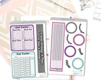 Weight Loss Note Page Stickers / Weight Loss Tracker Note Page Stickers for Erin Condren / Fitness Stickers / Health Planner Stickers