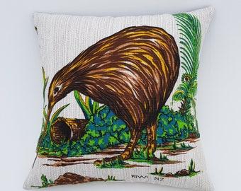 New Zealand Kiwi vintage tablecloth cushion cover