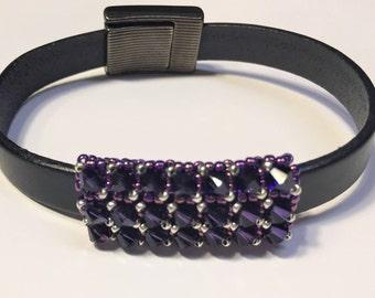 Versatile 10mm Flat or Half Round Handmade Swarovski Crystal Beaded Tube, Purple Velvet, 8mm round,supplies, Slider, large hole bead finding