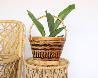 SALE Vintage Basket Planter w/ Handle Tribal Rattan Medium Sized Pot Boho Planter Indoor Planter Outdoor Planter