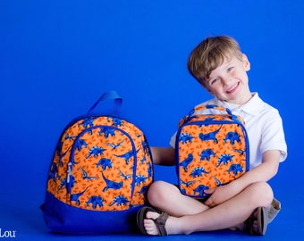 """Monogrammed Preschool """"Dino-Mite"""" Back to School Collection - Backpack, Lunch Tote & Blanket"""