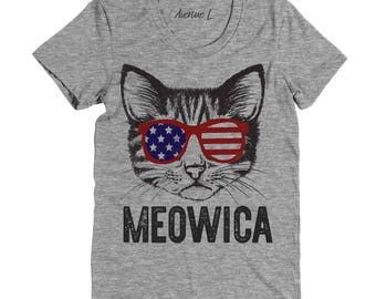 Meowica Shirt - Merica Shirt - Cat Shirt - Fourth of July Shirt