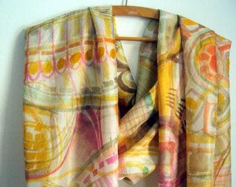 Slightly crumpled silk scarf Habotai hand Painted