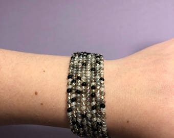 Black and White Herringbone Bracelet
