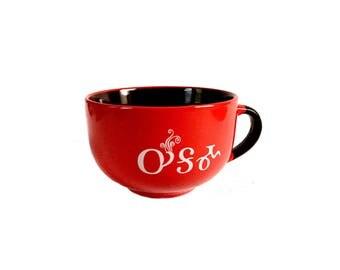 Oo-ga-ma Handled Soup Bowl- Red and Brown Tsalagi Cherokee Designed