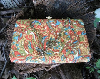 Mod Clutch Handbag Paisley Print Chain Strap Vintage 1960s Evening Bag Gold Metallic Thread Orange, Blue, Avocado Green