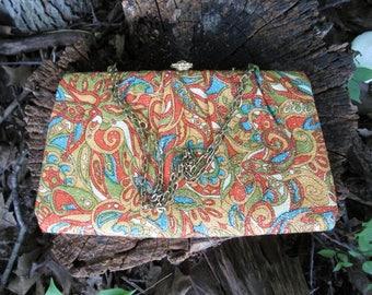 Mod Clutch Handbag Paisley Print Chain Strap Vintage 1960s Evening Bag Gold Metallic Thread Orange, Blue, Avocado Green
