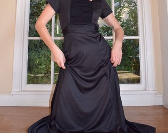 70's Black Ruched Evening Dress