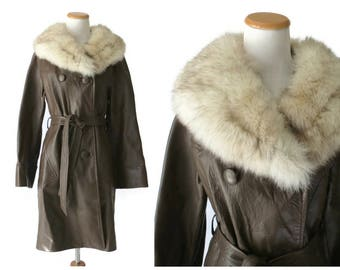 70s Leather Jacket Fur Collar Coat Almost Famous Hippie Boho Bohemian Rock n Roll Coat Size Small S Real Fur Brown Leather Tie Belt
