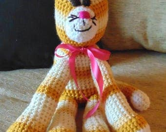 "Crocheted kitty cat stuffed animal doll toy ""Zack"""