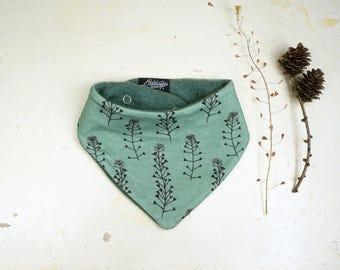 Organic Bandana Bib, eco friendly Kids Gift, Toddler Scarf, Reversible Bibdana, Handdrawn Flowers 'Shepherd's Purse', Mint green Neckwarmer