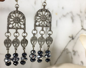 Black & Silver .:. Crystal Beaded Chandelier Earrings