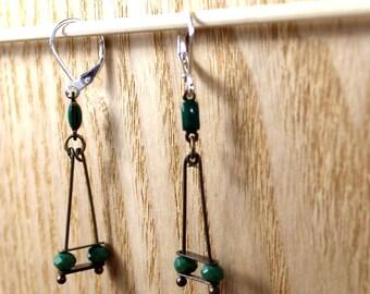 Green and bronze geometrical earrings