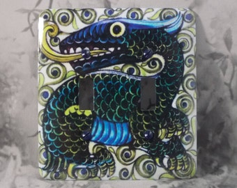 Metal Dragon Double Light Switch Cover - Dragon Switch Plate - 2T Double Switch Plate - William Morgan Dragon
