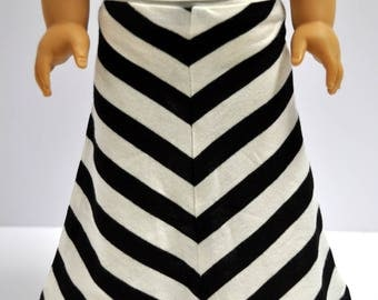Black and White Striped Maxi Skirt 18 Inch Doll Clothes