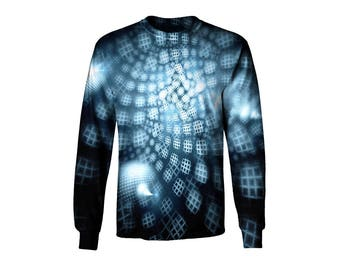 Long Sleeve Tee - Psychedelic Honeycomb Shirt - Longsleeve T-Shirt - Festival Top - Trippy Sublimation Apparel
