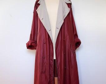 80s Oversized Boho Burgundy Raincoat, Marsala XL Preppy Belted Waterproof Trench Coat